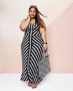 Striped Dress Outfit, Striped Maxi Dresses, Dress Outfits, Lace Maxi, Plus Size Fashion For Women, Plus Size Women, Plus Fashion, Fashion Ideas, Fashion Outfits
