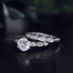 1.76 Carat Total Wedding Set Rings-BrilliantMarquise by Besbelle
