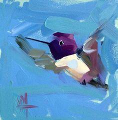 Hummingbird no. 207 Original Painting by Angela Moulton 6 x 6 inch on Panel pre-order by prattcreekart on Etsy