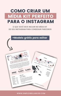 Como criar um Mídia Kit Instagram Marketing Digital, Social Media Marketing, Work Success, Tumblr Pages, Instagram Blog, Creating A Blog, News Blog, How To Start A Blog, Writing