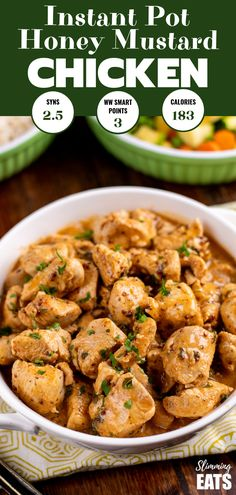instant pot chicken recipes Delicious Instant Pot Honey Mustard Chicken - tender pieces of chicken breast in a flavoursome honey dijon mustard sauce. All ready in less than 2 Chicken Breast Pieces Recipe, Chicken Breast Instant Pot Recipes, Garlic Chicken Recipes, Chicken Tender Recipes, Instant Pot Dinner Recipes, Healthy Chicken Recipes, Chicken Meals, Chicken Breasts, Instant Pot Pressure Cooker