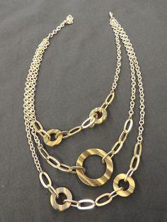 Vtg Goldtone Triple Chain Light Dark Brown Plastic Circle Statement Necklace WOW #Unbranded #TripleChain