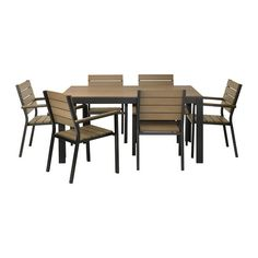 FALSTER Table 6 armchairs, outdoor IKEA Polystyrene slats are weather-resistant and easy to care for. Outdoor Dining Furniture, Outdoor Dining Set, Garden Furniture, Outdoor Living, Dining Chairs, Dining Sets, Ikea Chairs, Ikea Outdoor, Ikea Deck