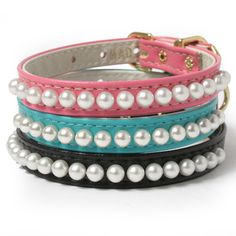 Mini Pearls Dog Collar for a little Schnauzer girl named AmyFarrahFowler.