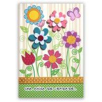 Cartão Artesanal Amizade Flores coloridas