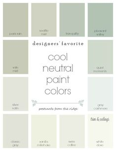 Designers' favorite cool neutral paint colors from Benjamin Moore with room photos. They all coordinate so nicely! Postcards from the Ridge