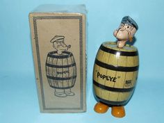 27: CHEIN POPEYE IN BARREL MECHANICAL TIN WINDUP & BOX : Lot 27