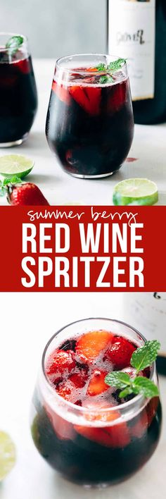 Summer Berry Red Wine Spritzer | Wine Cocktail Recipe | Strawberry, Blackberry, Blueberries | Low Calorie | Easy Drink | With Sprite and Lemonade | Brunch Cocktail Ideas