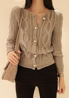 Grey Geometric Single Breasted Round Neck Wool Cardigan Outfits Otoño, Cool Outfits, Fashion Outfits, Amazing Outfits, Wool Cardigan, Cotton Sweater, Woolen Clothes, Get Dressed, What To Wear