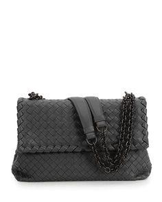 V2JXW Bottega Veneta Olimpia Large Shoulder Bag, Black