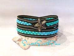 Turquoise Double Wrap Beaded Leather Bracelet Super Duo Wrap Starfish Button Beach Chic Handmade Unique Wrap Bracelet Free Shipping wrap bracelet 2x wrap beach wrap turquoise super duo wrap sunset southpaw free shipping gifts for her holiday gifts fun jewelry beach jewelry green turquoise blue turquoise 30.00 USD #goriani