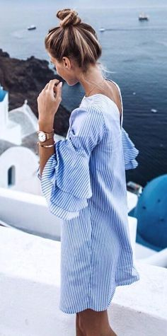 summer stripes ruffle dress perfection