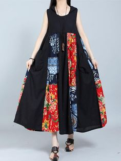 Gracila Vintage Patchwork Sleeveless Hooded Women Maxi Dresses #Dresses #VintageDresses