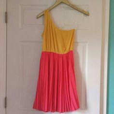 Fun one shoulder dress! Great for a summer party or spring break! Bright, happy pink and yellow! Easy to dress up or down. Worn once; in perfect condition! Everly Dresses One Shoulder