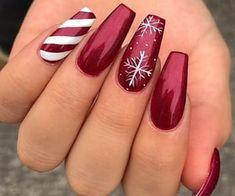 Chistmas Nails, Cute Christmas Nails, Xmas Nails, Christmas Nail Art Designs, Winter Nail Designs, Holiday Nails, Christmas Christmas, Christmas Acrylic Nails, Winter Acrylic Nails
