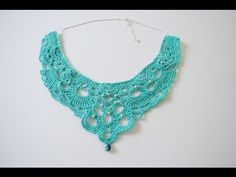 Dazzle your admirers when you walk in wearing this Crochet Chandelier Necklace. As far as crochet jewelry patterns go, it doesn't get more glamorous than this one. Crochet Necklace Pattern, Crochet Jewelry Patterns, Crochet Motifs, Crochet Bracelet, Thread Crochet, Crochet Accessories, Crochet Crafts, Easy Crochet, Crochet Hooks