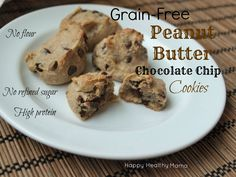 Grain-free Peanut Butter Chocolate Chip cookies--a healthy cookie made with no flour, no refined sugar, no oil, no butter.  They are totally addicting.