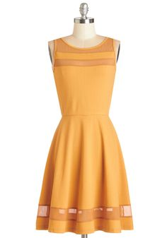 RAINBOW DASH/Apple Jack Element of Sunrise Dress. Being that this A-line is sun kissed with a beautifully goldenrod hue, its no wonder it warms your heart the same way as does the sparkling dawn. #yellow #modcloth