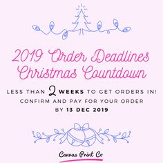 Oh, my Christmas!! You have less than 2 WEEKS to get your orders in 🎁  CONFIRM YOUR ORDER NOW, to guarantee delivery in time for Christmas 🎄 Visit our website today to get your Christmas orders in!   If you find yourself in a pickle without a present, then you can purchase vouchers through our online ordering system throughout the holidays. Pay online and get your voucher number sent straight to your inbox 😀  Print orders placed after 13 December will be prioritised when we reopen in…