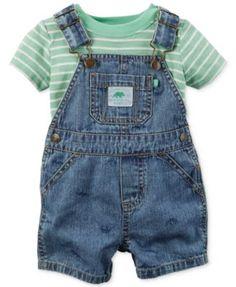 Carter's Baby Boys' 2-Piece Stripe Shirt & Shortall Set