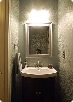 Stenciled Powder Room. Lovely stencil project using our elegant Donatella Damask stencil. http://www.royaldesignstudio.com/products/donatella-damask-stencil