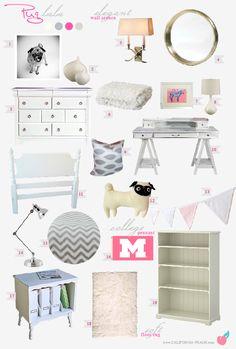 Pug Lala - Teen/College Bedroom -- Pink, Girl, Feminine, Modern, Preppy, College, Hollywood, Regency, Shabby Chic, Chevron, Toddler Room, Toddler Bed, Tween Bedroom, Twin Bed, Kids, Kid, Nursery, Peach, Pink,Grey, White, Light, Art, Baby Room, Nursery, Style Board