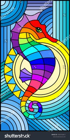 Illustration in stained glass style with fabulous abstract fish seahorse, rainbow fish on blue background - Arte Pop, Stained Glass Patterns, Stained Glass Art, Pop Art, Seahorse Art, Seahorses, Geometric Cat, Glass Wall Art, Painted Rocks