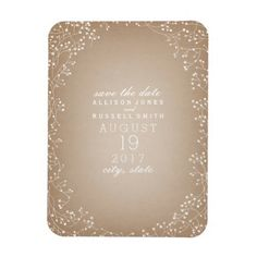 Baby's Breath Cardstock Inspired Save The Date Magnet