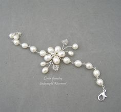 White Pearl Bridal WEdding Bracelet Fresh Water by adriajewelry