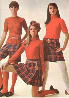 """""""Diane Conlon, Terry Reno and Colleen Corby, Poor Boy sweaters? Plaid skirts and shorts. 60s Fashion Trends, 60s And 70s Fashion, Mod Fashion, Teen Fashion, Vintage Fashion, Womens Fashion, Gothic Fashion, Korean Fashion, Colleen Corby"""
