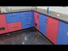 light blue light red combination kitchen platform wood work - YouTube