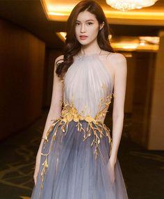 Stylish tulle lace long prom dress, lace evening dress