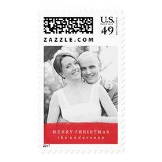 Brushed   Holiday Photo Postage - merry christmas diy xmas present gift idea family holidays
