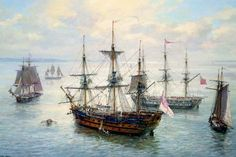 """Geoff Hunt Print - """"Spithead Anchorages"""" Ships and Vessels of Captain Aubrey's Navy. A peaceful afternoon finds several of the ships and vessels associated with Patrick O'Brian's naval hero Captain Aubrey gathered together at Spithead, just off Portsmouth Nautical Prints, Nautical Art, Patrick O'brian, Old Sailing Ships, Sailing Boat, Ship Paintings, Wooden Ship, Navy Ships, Ship Art"""