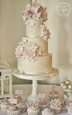 Wedding Ideas: 20 Romantic Ways to Use Lace - wedding cake; Cotton and Crumbs