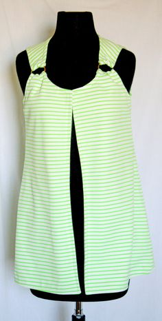 Vintage 1970s Green and White Striped Heavy by VarietyVintagebyALD, $19.50