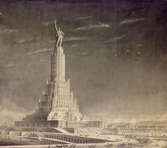 Boris Iofan, Rendering of the Palace of the Soviets, Moscow, USSR, 1930