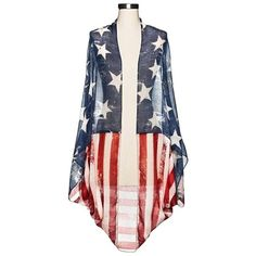 Women's Stars & Stripes Cocoon ($20) ❤ liked on Polyvore featuring mossimo
