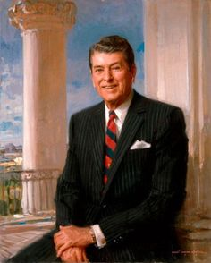 Official White House Portrait of Ronald Wilson Reagan ~ President of the United States. (Term: He challenged the leader of the Soviet Union to tear down the Berlin Wall. Also, he was primarily responsible for ending the Cold War. List Of Presidents, Greatest Presidents, American Presidents, American History, American Pride, Presidential Portraits, Presidential History, Presidential Trivia, 40th President