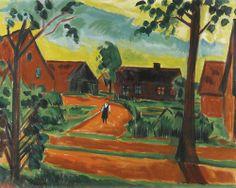 Max Pechstein (German, 1881-1955), Kind auf Dorfstrasse [Child on a village street], c.1923. Oil on canvas, 80 x 100 cm.