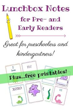 Lunchbox notes ideas for early readers - and adorable free printables!: Lunchbox notes ideas for early readers - and adorable free printables!