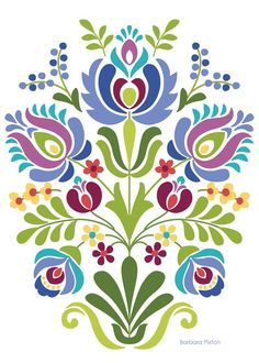 computer Folk Embroidery Patterns Hungarian Folk Art Blue and Purple Flowers - Hungarian Folk Art Print This is an image created in Adobe Illustrator and inspired by the beautiful folk desig Hungarian Embroidery, Folk Embroidery, Learn Embroidery, Embroidery Patterns, Indian Embroidery, Hungarian Tattoo, Polish Embroidery, Embroidery Online, Embroidery Tattoo