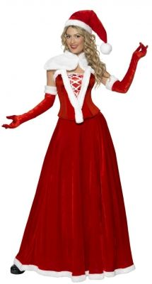 71312fb0292e Take On A More Elegant Look This Christmas With Our Luxury Miss Santa  Costumes Featuring Red And White Santa Hat, Cape, Corset, Long Skirt And  Gloves.