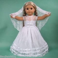 """Doll Clothes wedding dress for 18"""" American Girl doll, birthday present gift 69#"""