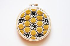 Hey, I found this really awesome Etsy listing at https://www.etsy.com/se-en/listing/267283781/beehive-embroidery-hoop-art-black-gray