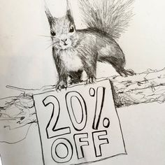My sketch of a red squirrel to celebrate #RedSquirrelAwarenessWeek. Use the promo code redsquirrel on checkout and save 20% off all my red squirrel products until the 4th October 2016.