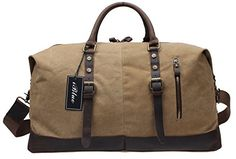 Travel Garment BagsIblue Canvas Leather Trim Weekend Shoulder Handbag Boarding Bag 198 in B011khaki ** You can find out more details at the link of the image.