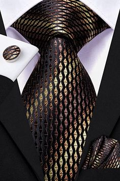 """3 Piece Silk Tie Set Color: Yellow Brown Blue 59"""" Length, 3.35"""" Width Matching cufflinks and pocket square Mens Fashion Outfits, Fashion Suits, Men's Fashion, Mens Clothing Styles, Men's Clothing, Man Gear, Mens Silk Ties, Neck Ties, Kinds Of Clothes"""