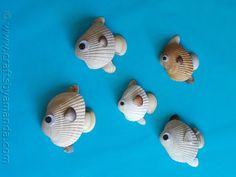 All you need are some sea shells and some google eyes and maybe some pebbles and there you go! Cute little sea shell fish!
