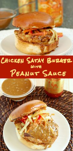 All the flavors of Chicken Satay in a burger. Juicy Chicken Burgers with Peanut Sauce & Pickled Veggies for #SundaySupper. Super easy to make and super flavorful.